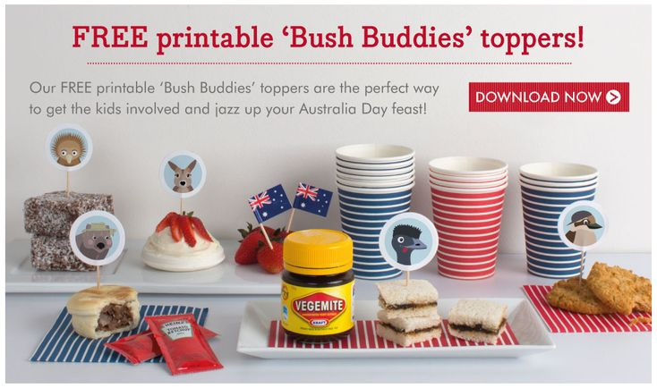 Australia Day Printables (food toppers)