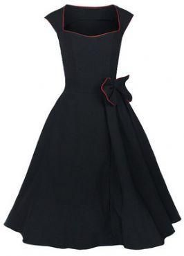 retro dresses plus size clothes large dress long stretch cotton fabric cocktail club wear sexy novelty elegant black blue red $27.00