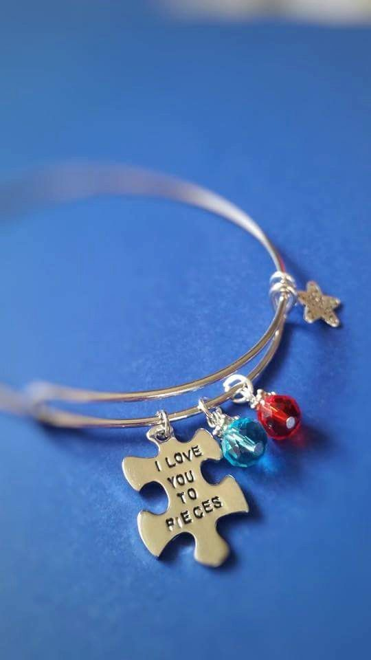 Autism,  Autism Awareness,  Autism Jewelry,  I Love You to Pieces, Autism Bracelet,  Bangle bracelets,  Stackable bracelet,  puzzle piece by jacleensboutique on Etsy