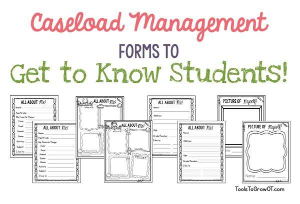 This is caseload management forms written by an Occupational Therapist. These forms can be easily adapted for the school SLP to make case management easy. This link includes forms for organization of caseload management, tips for creating successful sessions, and identifying motivators as  well as forms to get to know child at beginning of school year.
