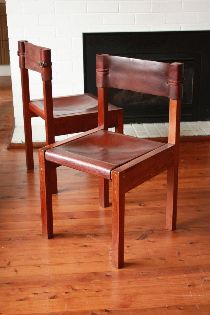 Mid Century Leather and Wood Chairs Set of 6, by Griffith Tablecraft Jeremy Griffith by TriBecasVintage on Etsy
