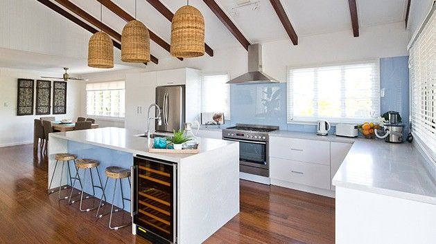 Kitchen of Maddi and Lloyd from House Rules. The lamps with natural materials look good in this space.