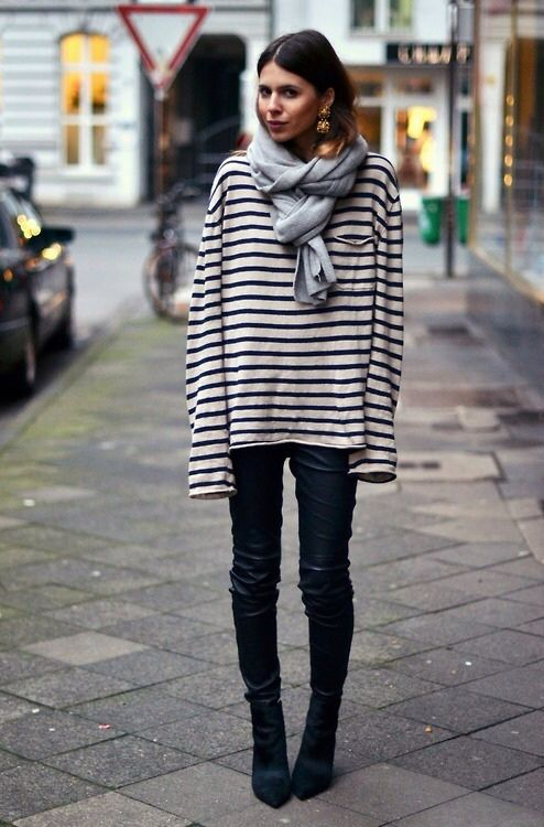 Oversized Breton long sleeved top, always a classic. Possibly even a mans version. Styled for autumn winter here with scarf.