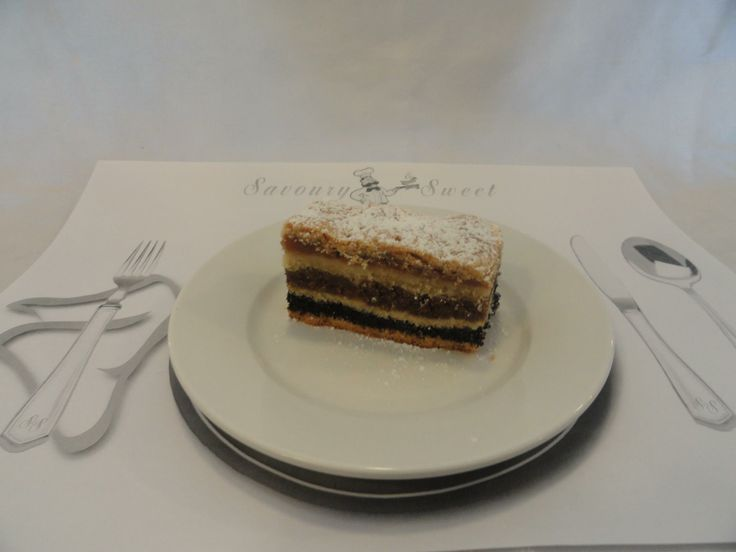 Flodni a four layered specialty rarely found outside of Budapest, walnut, apricot, poppyseed available only on rare special occasions at Savoury and Sweet Restaurant 3770 Bridgewater Street Niagara Falls Ontario