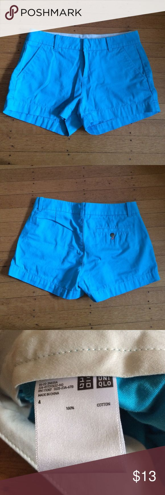 Uniqlo Cotton Shorts These electric blue shorts have deep pockets as well as a smaller pocket on the back. They have been worn once. Uniqlo Shorts
