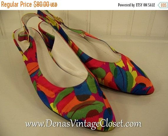 60% OFF Mothers Day Sale Vintage 80s Bruno Magli Italian Shoes Slings Pumps Multi Colored Heels sz 7 1/2 AA