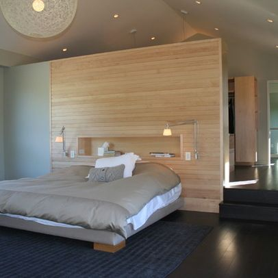 timber wall and recess above bedhead