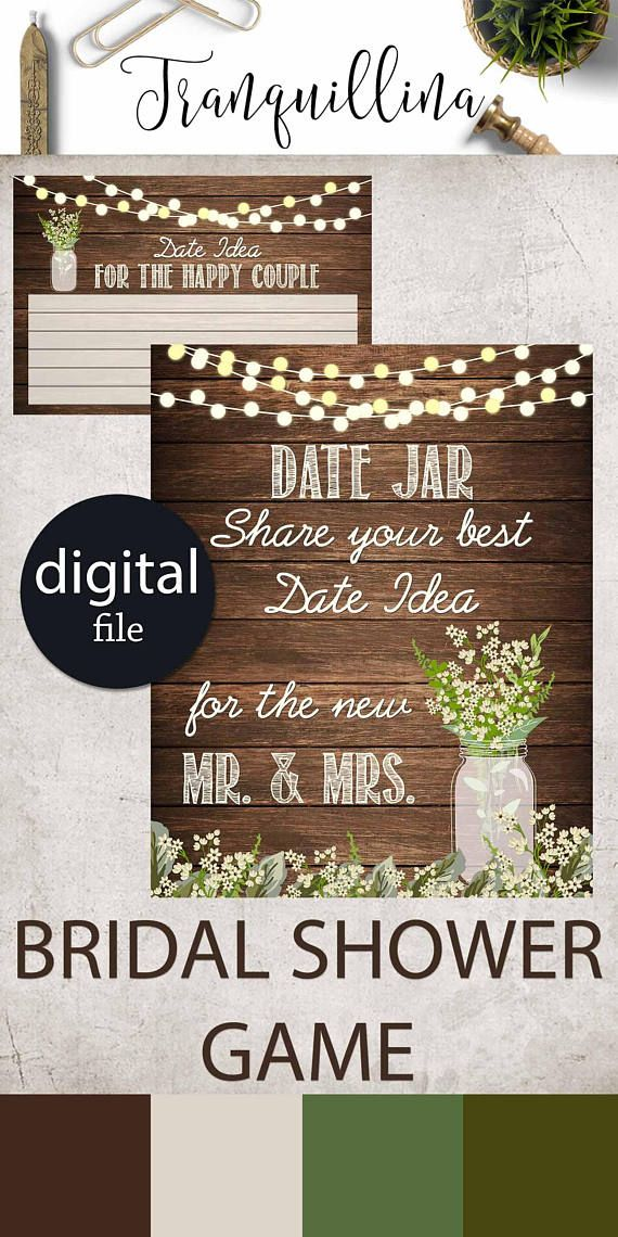 games to play at couples wedding shower%0A Date Jar Game Printable Rustic Bridal shower date jar Sign Bridal shower  activity  wedding