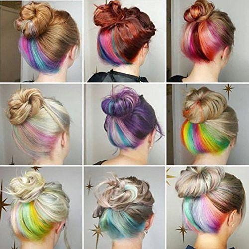 Bunte Clip In Haarverlängerung Party Highlight Stripes RAINBOW Farbige Synthetik ... - #Farbe #Clip #Farbe # Haarverlängerung #Hoch