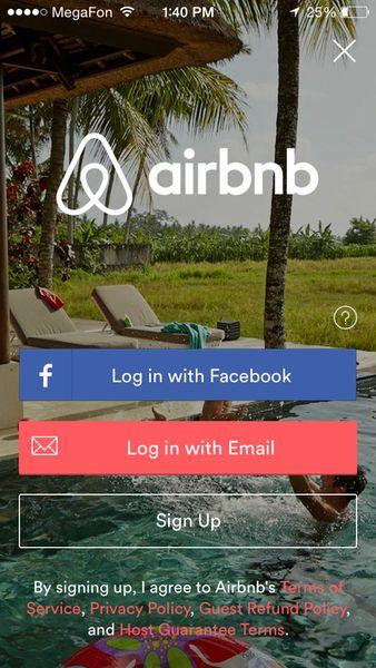 Airbnb log in app ios iphone