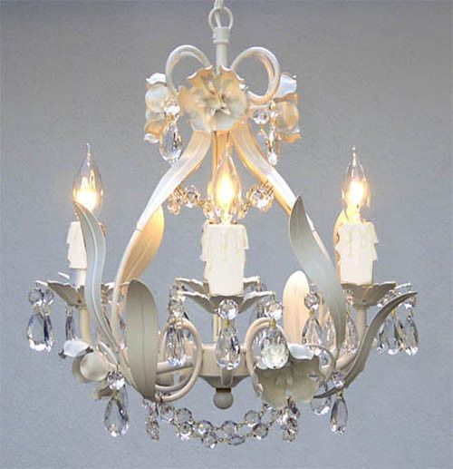 """WROUGHT IRON FLORAL CHANDELIER CRYSTAL FLOWER CHANDELIERS LIGHTING H15"""" X W11"""""""