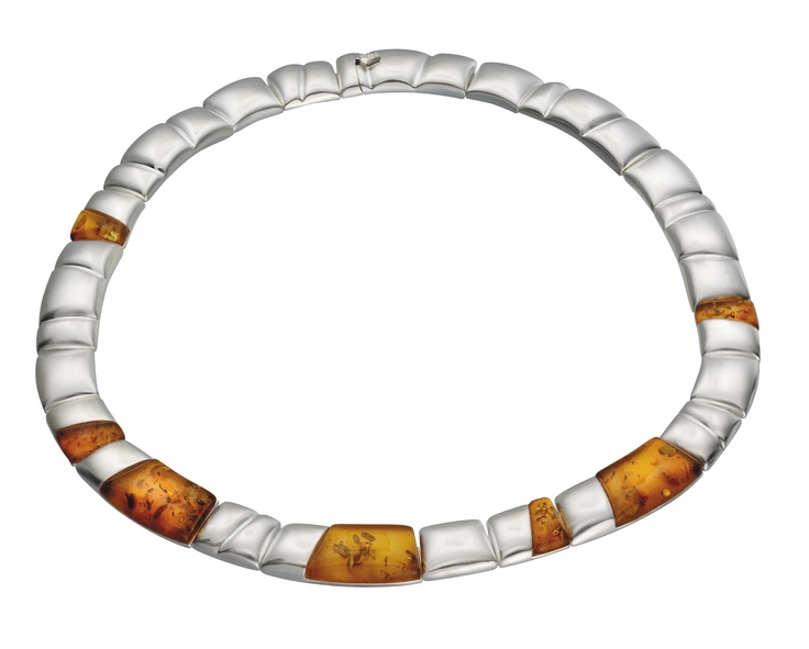 Lapponia Jewellery Midsummer necklace by Poul Havgaard (silver and amber)