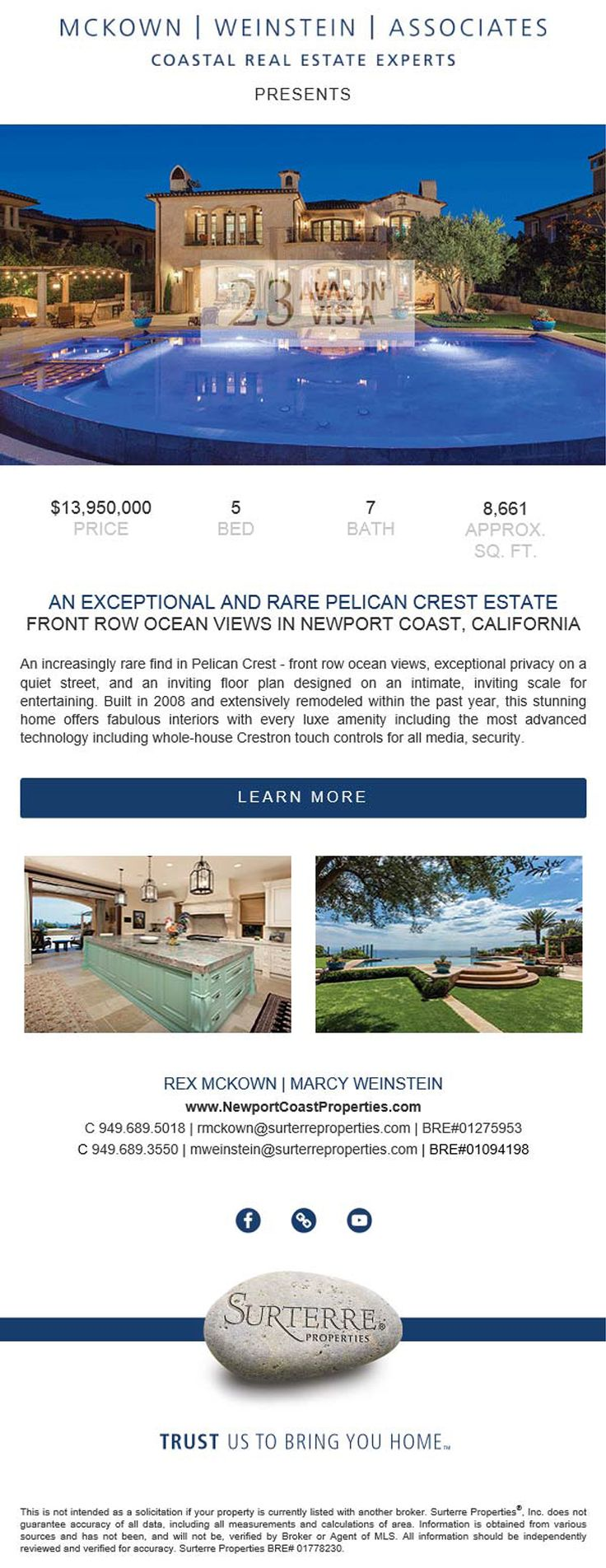 New Home for Sale in the Newport Coast, California  Rare Ocean View Estate in Newport Beach  23 Avalon Vista  5 Bed     7 Bath     8,661 sq. ft.     Exceptional Privacy     Whole-House Technology     Infinity Pool & Spa with Baja Shelf     Fire Features     Secluded Patios     Airy Rooms     Large Chef's Kitchen     Spacious Elevator  http://mwa.prop.cards/NP17169578#cover