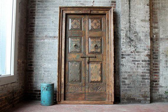 Antique Door Set Indian Hand Carved Teak Wood Haveli Doors Moroccan Interior Mediterranean Decor Global Decor by hammerandhandimports. Explore more products on http://hammerandhandimports.etsy.com