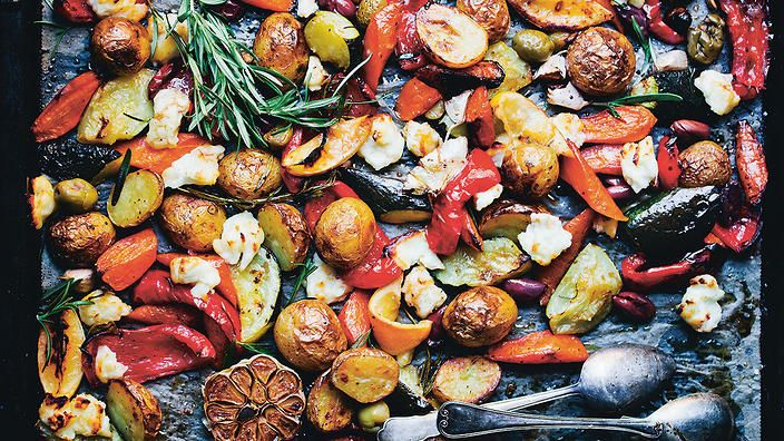 Mediterranean tray-bake with haloumi chunks   Vegetarian recipe   SBS Food