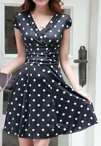 $9.83 Stylish Women's V-Neck Polka Dot Short Sleeve Dress