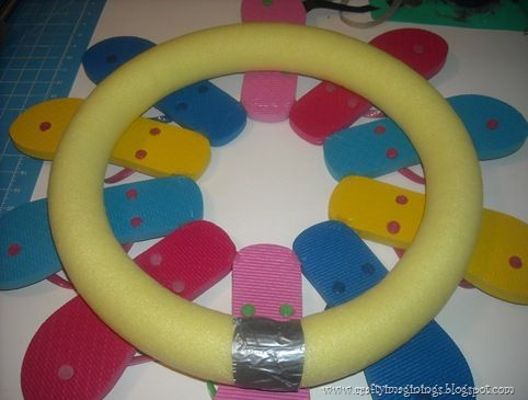 Pool noodle flip flop wreath