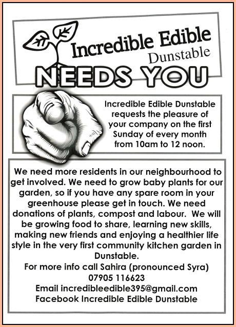 Incredible Edible Project at Katherine Drive, Dunstable.