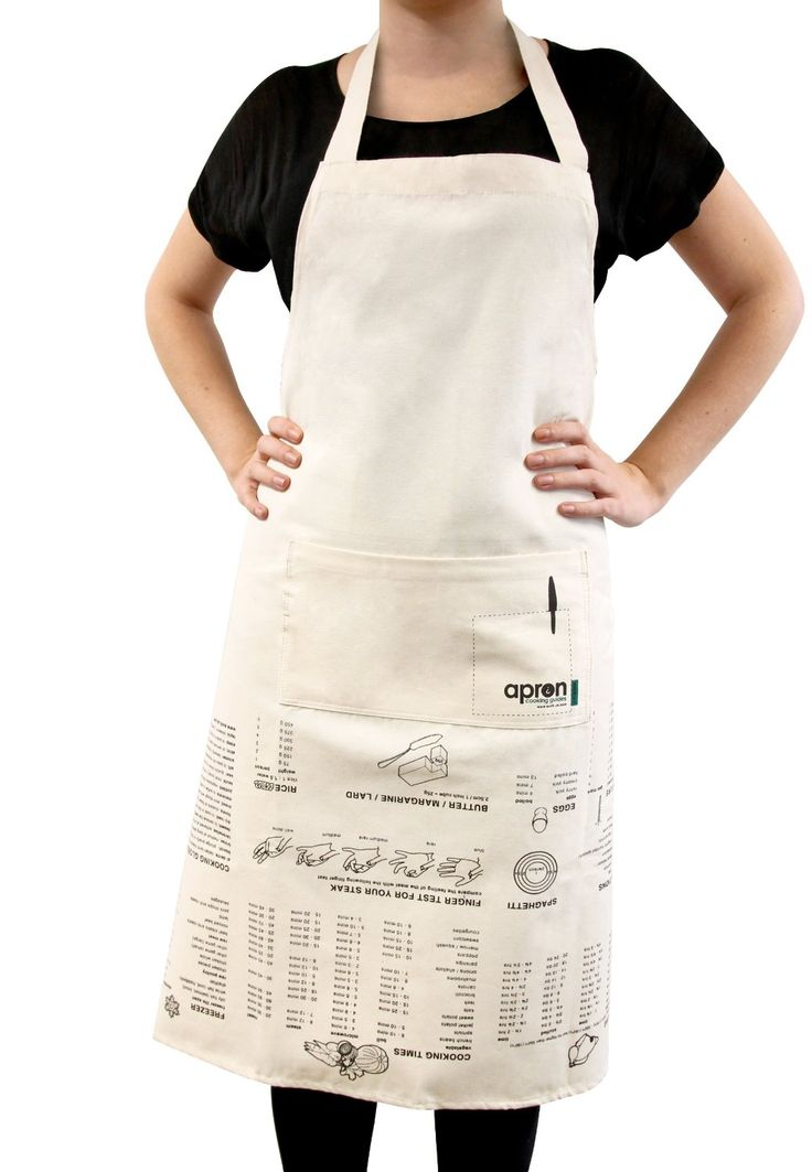 This handy apron shows convenient cooking information like numeric conversions, cooking times, roasting times, freezing instructions, defrosting times, a cooking glossary and more!! #cooking