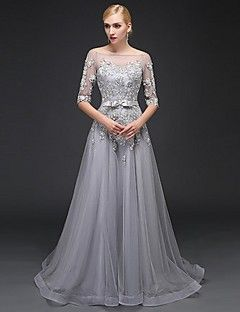 Formal Evening Dress A-line Bateau Sweep / Brush Train Satin / Tulle with Appliques / Beading – USD $ 119.99