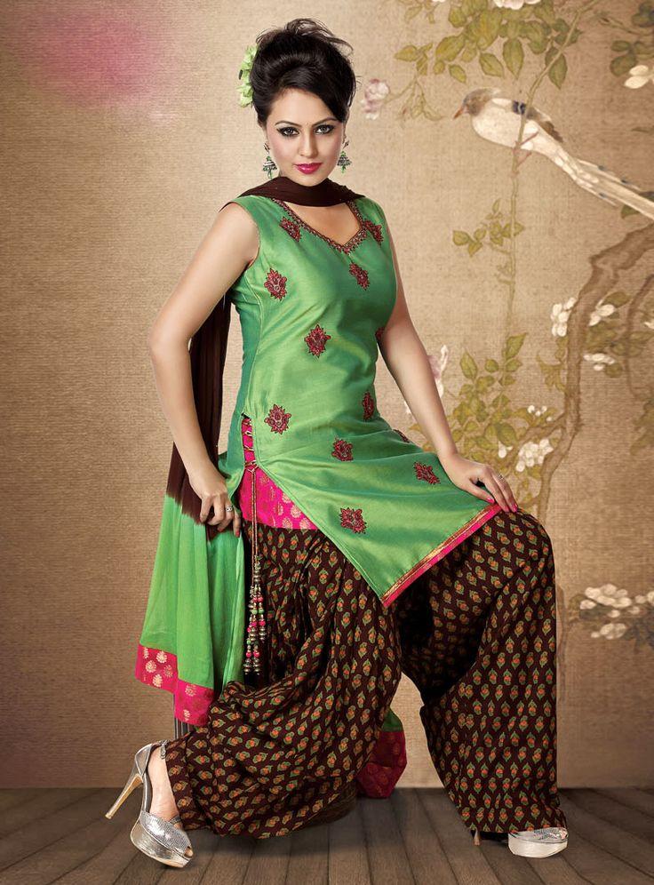 Green Chanderi Patiala Suit