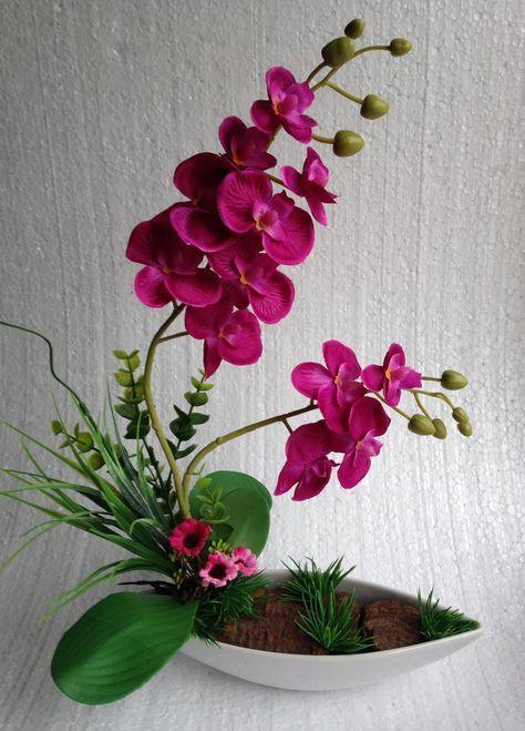 Arranjo de orquídea com fundo canoa | Papoula Púrpura | Elo7