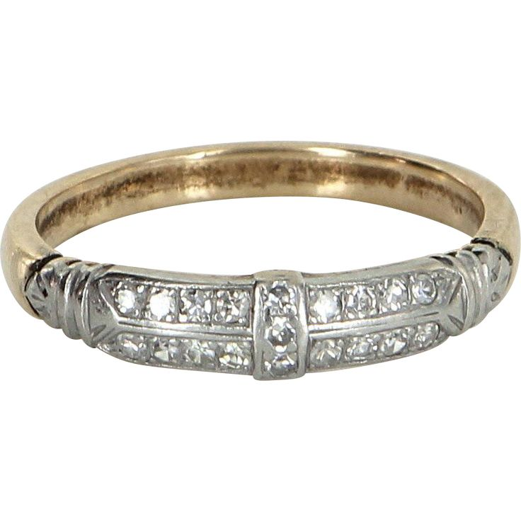 Vintage Art Deco Diamond Wedding Ring Band Platinum 14 Karat Gold Estate Jewelry Fine
