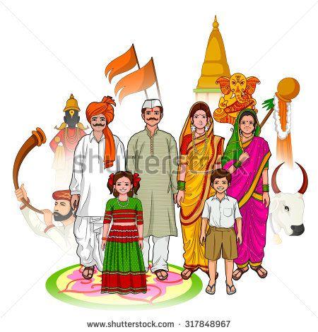stock-vector-vector-design-of-maharashtrian-family-showing-culture-of-maharashtra-india-317848967.jpg (450×470)