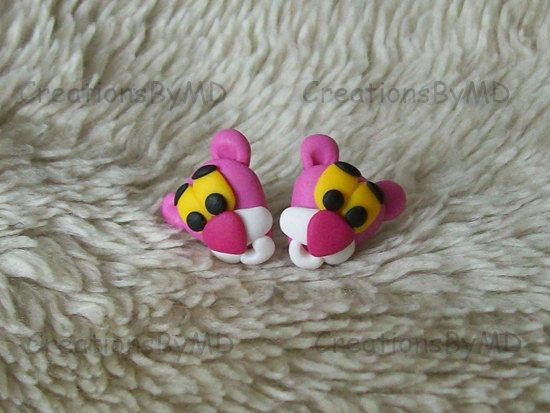 pink panther stud earrings polymer clay fimo handmade via Etsy