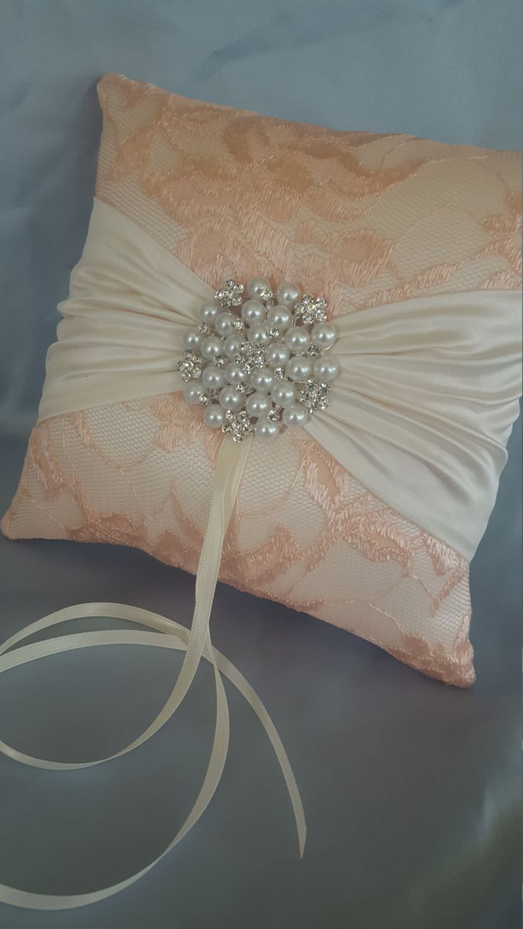 Peach Ring Bearer Pillow Ivory Lace Ring Pillow Pearl Rhinestone Accent by Allofyou on Etsy & 98 best Ring Bearer Pillows images on Pinterest   Ring bearer ... pillowsntoast.com