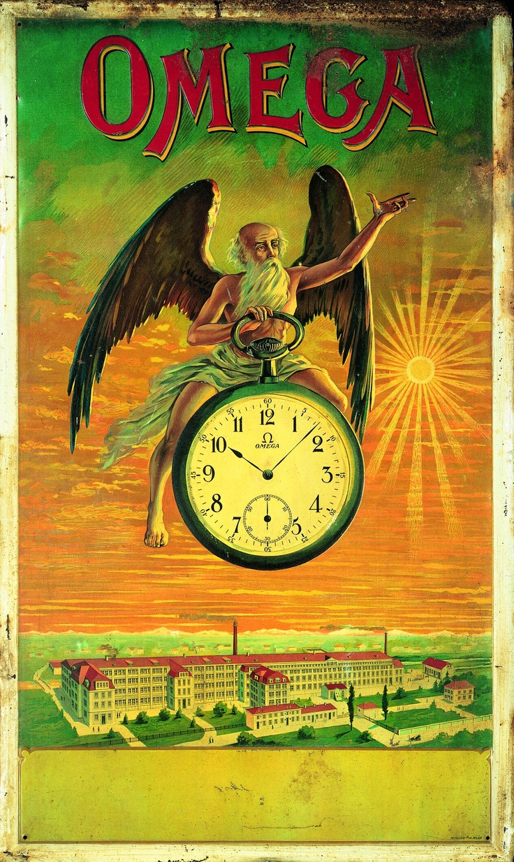 """Omega Watch Ad from 1910. Let's see - creepy old half-naked guy with wings rides an overgrown pocket watch around a factory town. Is this a sequel to """"Footloose?"""""""