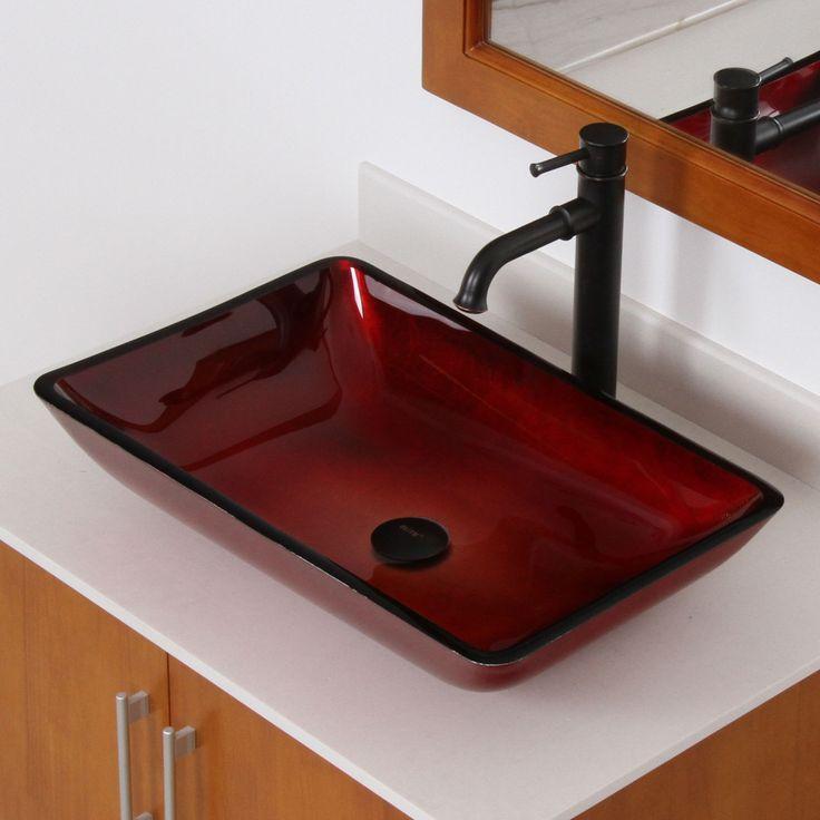 7002 Elite Illusion Burgundy Design Tempered Glass Bathroom Vessel Sink Bathroom Sinks Stone Sink