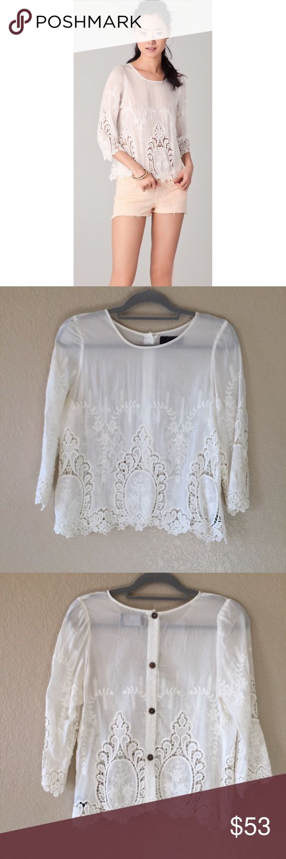 Dolce Vita Deidra Top Ivory embroidered lace detailing throughout has cute functional wooden back buttons. In good preowned condition. Dolce Vita Tops