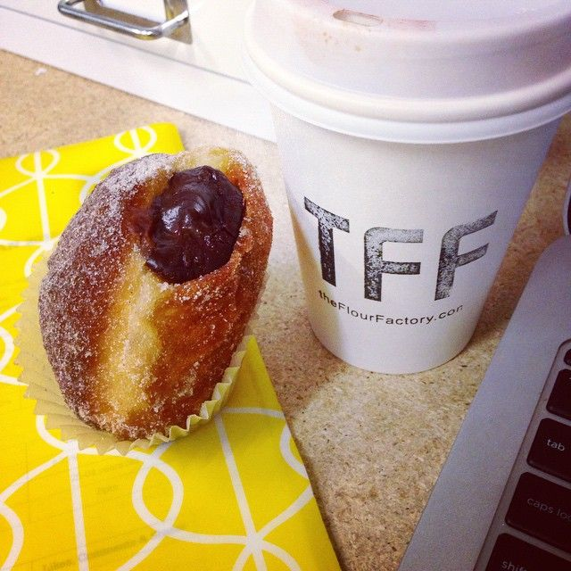 Salted caramel AND chocolate filled donut?! @theflourfactory you are amazing.
