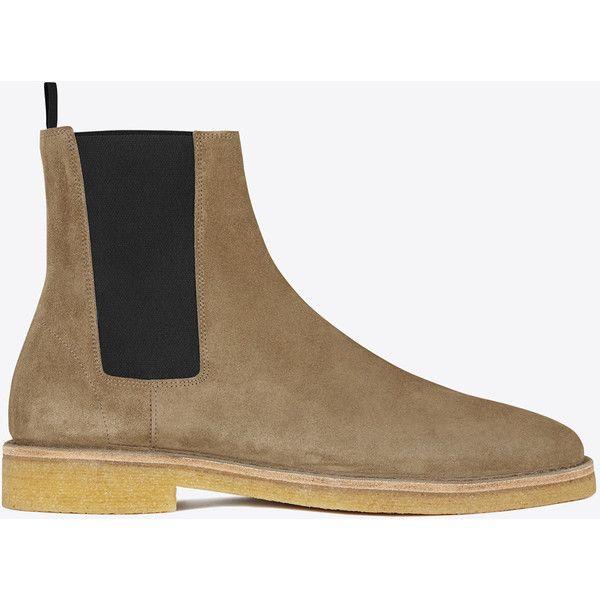 Saint Laurent Nevada 25 Chelsea Boot ($915) ❤ liked on Polyvore featuring men's fashion, men's shoes, men's boots, men's pull on work boots, mens slipon shoes, yves saint laurent mens shoes, yves saint laurent mens boots and mens slip on boots