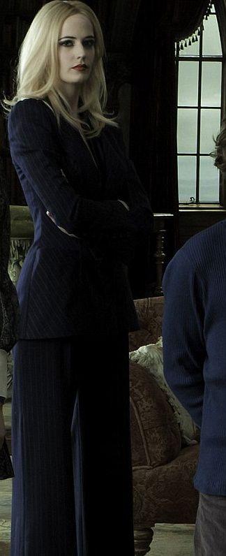 Eva Green rocks a pinstriped suit in Dark Shadows  (Dark Shadows costume design on the | http://beautifullhandbagstyles.blogspot.com