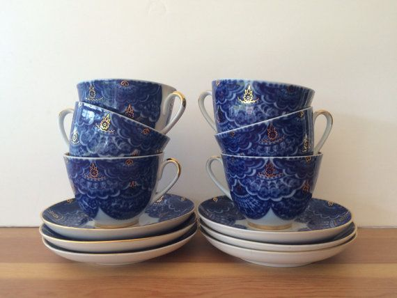 Antique USSR Lomonosov Cups and Saucers Peacock Pattern by Malama1