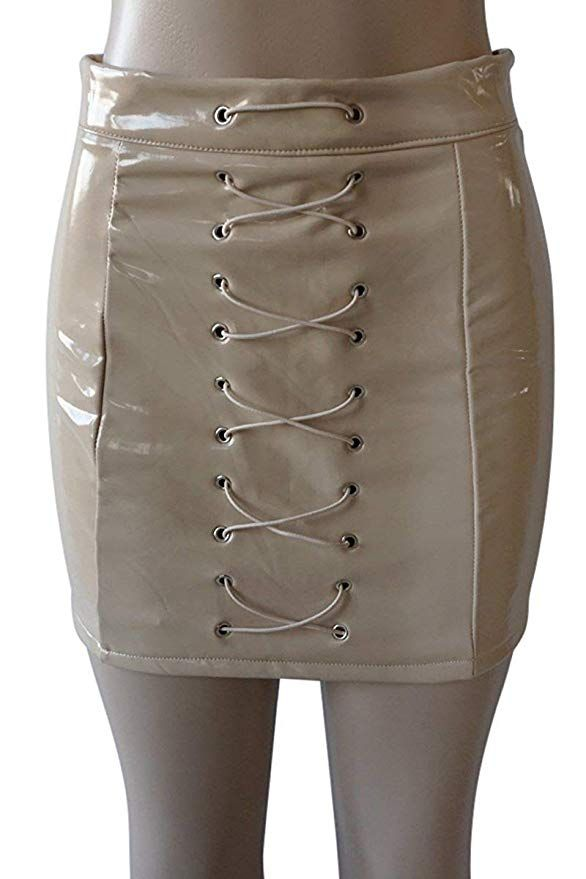 198dc3a15 Rela Bota Women's High Waist Criss Cross Lace up PU Leather Solid Bandage Mini  Pencil Skirt Large Grey at Amazon Women's Clothing store: