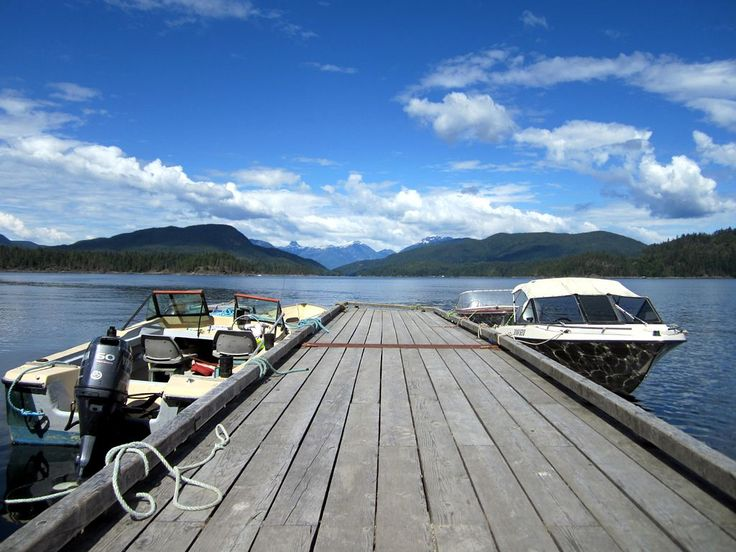 A pier on Hoskyn Channel, Quadra Island, British Columbia, Canada. Maurelle Island is to the left and Read Island to the right.