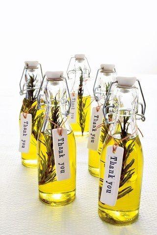 regalar botellas de aceite en una boda