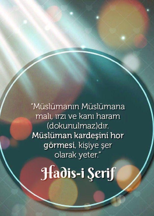 """""""Müslümanın Müslümana malı, ırzı ve kanı haram (dokunulmaz)dır. Müslüman kardeşini hor görmesi, kişiye şer olarak yeter.""""  [Hadis-i Şerif]  #ırz #namus #müslüman #hadisler #uyarı #ilmisuffa"""