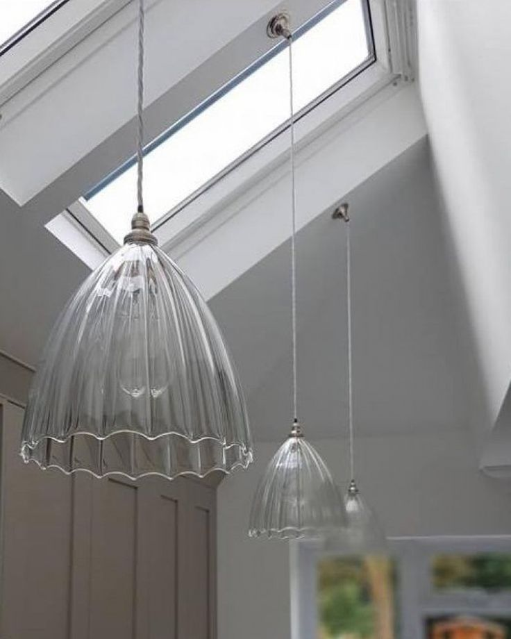 Designer Pendant Light, Ledbury Ribbed Glass Pendant Light