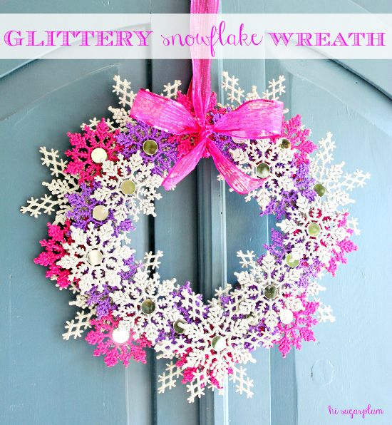How cute is this! I would just use a blue color scheme instead: http://hisugarplum.blogspot.com/2012/12/christmas-snowflake-wreath-craft-link.html