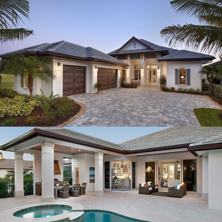 Architectural Designs Florida House Plan 66342WE. Front And Back Views.  Ready When You Are