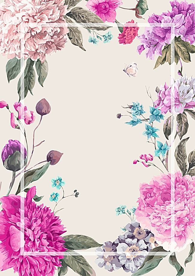 Vector Watercolor Painted Floral Background Fresh Wedding Flowers
