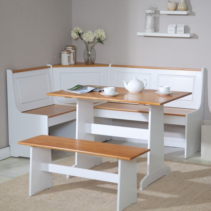 Furniture, Awesome L Shaped White Stained Kitchen Nook With Wood Seat White Dining Table With Wood Countertop White Long Bench With Wood Seat Shag Area Rug: Knowing Best Kitchen Nook Ideas