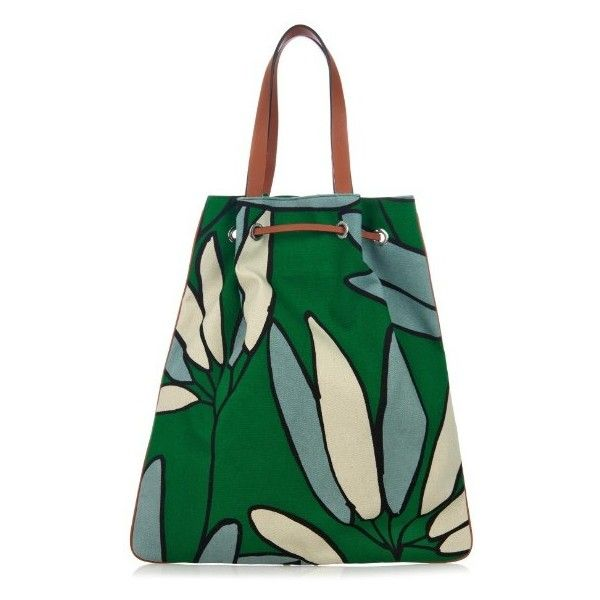 MARNI Candlestick canvas tote ($418) ❤ liked on Polyvore featuring bags, handbags, tote bags, green print, floral tote bag, pattern tote bag, marni tote, canvas tote purse and canvas tote bags