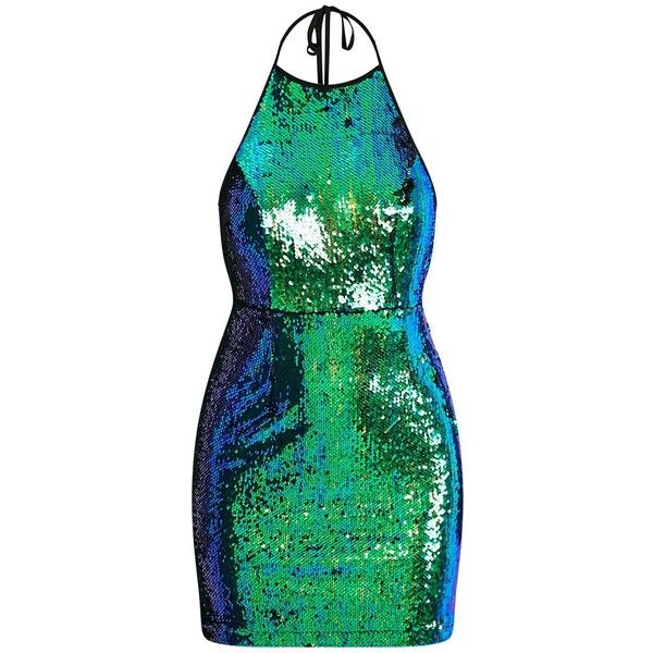 Jeseme Green Sequin Front Bodycon Dress ($14) ❤ liked on Polyvore featuring dresses, green sparkly dress, bodycon dress, sparkly party dresses, body con dresses and sequin dress