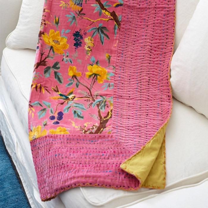 Kovalam Velvet Throw in PinkThrow Pink, Birds Motif, Stitches Throw, Birds Woolen, Woolen Stitches, Birds Throw, Velvet Throw, Floral Birds, Velvet Birds