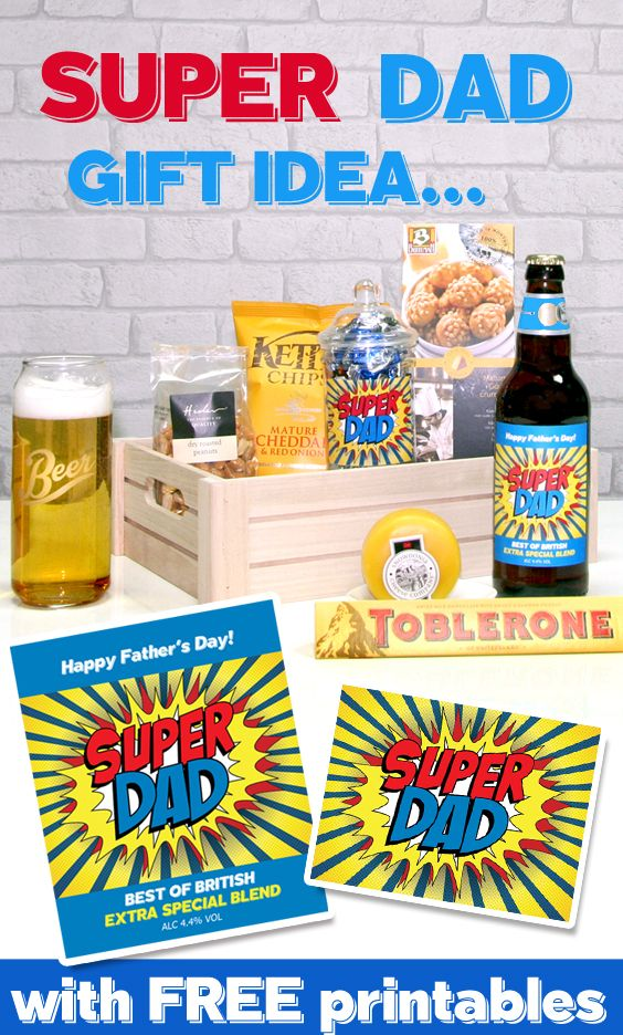 Great gift idea for Fathers Day! This fun Super Dad gift hamper can be easily…